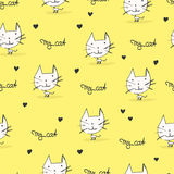 Seamless pattern with cats and hearts Stock Image