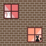 Seamless pattern of a cats in house windows, cats behind a curtains Royalty Free Stock Photography