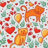 Seamless pattern with cats in love Stock Photo