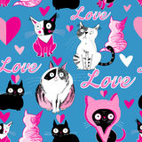 Seamless pattern cats in love Stock Images