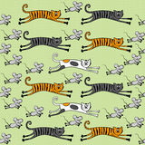 Seamless pattern with cats and mice Royalty Free Stock Photography