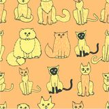 Seamless pattern with cats Stock Photo