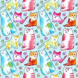 Seamless pattern of a cats and paw. Watercolor hand drawn illustration.White background Royalty Free Stock Photo