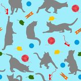 Seamless pattern with cats player. Cats and toys in flat style on blue background. Vector illustration. Royalty Free Stock Image