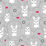 Seamless pattern with cats and rabbits Royalty Free Stock Photos
