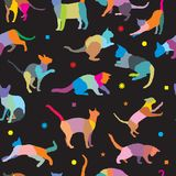 Seamless pattern with cats silhouettes. Vector seamless pattern with colorful mosaic different breeds cats and different geometrical figures, on black background vector illustration
