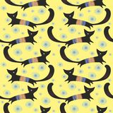 Seamless  pattern with cats and snowflakes Stock Image