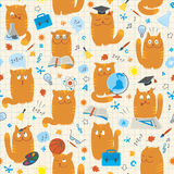 Seamless Pattern - Cats Studing School Subjects Stock Photos