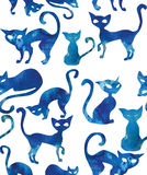 Seamless pattern with cats. Watercolor effect. Seamless pattern with blue cats. Watercolor effect Stock Illustration