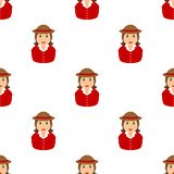 Farmer Girl Avatar Icon Seamless Pattern Stock Images