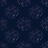 Seamless pattern of celebration. Fireworks Stock Photos