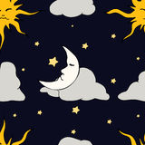 Seamless Pattern with celestial bodies Royalty Free Stock Image