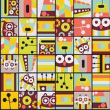 Seamless pattern with cell owls. Stock Image