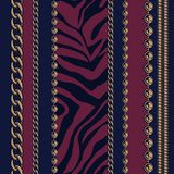 NSeamless pattern of chains and animal print. royalty free illustration