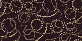 Seamless pattern of chains in baroque style vector illustration