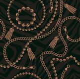 Seamless pattern of chains In baroque style royalty free illustration