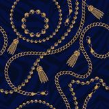 Seamless pattern of chains on the dark background royalty free illustration