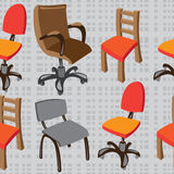 seamless pattern  chairs on gray Stock Image