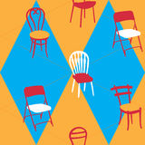 Seamless Pattern With Chairs for Hotel, Home Stock Images
