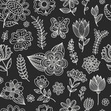 Seamless pattern with chalk flowers. Stock Photos