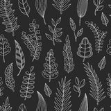 Seamless pattern with chalk leaves. Royalty Free Stock Image