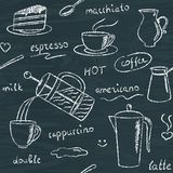 Seamless pattern with chalkboard coffee items Stock Photos