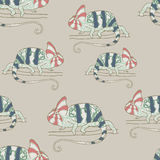 Seamless pattern with chameleon Stock Images