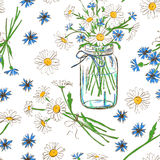 Seamless pattern with chamomile and cornflowers Royalty Free Stock Photo