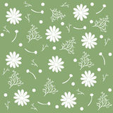Seamless pattern of chamomile flowers and branches isolated, green background. Vector Illustration Stock Image
