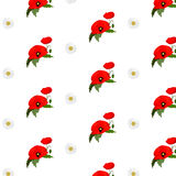 Seamless pattern with chamomile and poppies Royalty Free Stock Photo