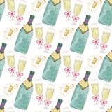 Seamless pattern with champagne bottle and glass. Watercolor celebration background. Christmas or Valentines Day backdrop design. Seamless pattern with Royalty Free Stock Images