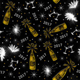 2017 Seamless Pattern. A seamless pattern of champagne bottles glasses and fireworks for a Happy New Year 2017 Stock Image