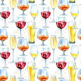 Seamless pattern of a champagne,cognac, wine, beer and glass. Royalty Free Stock Image
