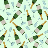Seamless pattern of champagne and  glasses. Seamless pattern of bottles of champagne and  glasses Stock Image