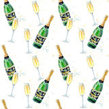 Seamless pattern of a champagne and glasses. Drink painting.Watercolor hand drawn illustration Stock Image