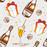 Seamless pattern with champagne Royalty Free Stock Images