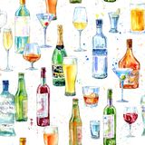 Seamless pattern of a champagne,vodka, cognac, wine, beer and glass. vector illustration