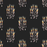 Seamless pattern of the chandeliers with candles Royalty Free Stock Image