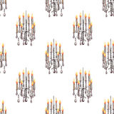 Seamless pattern of the chandeliers with candles Royalty Free Stock Images
