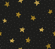 Seamless pattern with chaotic dots and stars. Royalty Free Stock Images