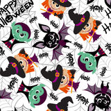 Seamless pattern of characters for Halloween in cartoon style Royalty Free Stock Photography