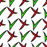 Seamless pattern of check mark icons simple on white background. Red cross and green tick with black stroke. Vector illustration Stock Images