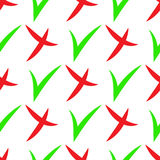 Seamless pattern of check mark icons simple on white background. Red cross and green tick. Vector illustration Stock Image