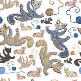 Seamless pattern with cheerful cats. Stock Images