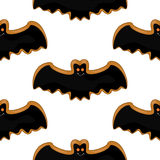 Seamless pattern with cheerful cookies. A cheerful mood. Bat. Air biscuits. Royalty Free Stock Photos
