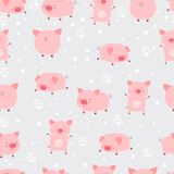 Seamless pattern cheerful cute little cute pigs in snow. Cartoon. Animal vector illustration. Texture with pigs new year 2019 stock illustration