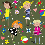 Seamless pattern with cheerful girls. Royalty Free Stock Photography