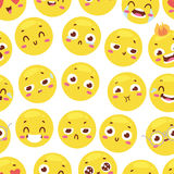 Seamless pattern with cheerful happy smileys for textiles interior or book design and funny character website yellow Royalty Free Stock Photography