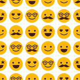 Seamless pattern with cheerful and happy smileys Stock Photo