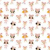 Seamless pattern with cheerful kids in piglet costumes. Seamless pattern with cheerful kids in piglet costumes on a white background royalty free illustration